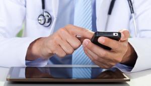 doctor using app on phone